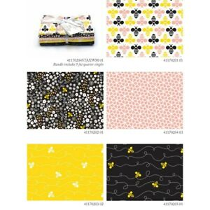LOT 5 FAT QUARTERS BEE HAPPY Animal Crafts Quilting Sewing Cotton FREE SHIP $11.96