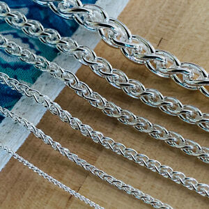 Real Solid 925 Sterling Silver Wheat Spiga Rope Chain Necklace Made in Italy $8.99