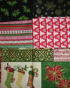 LOT 5 FAT QUARTERS CHRISTMAS Crafts Quilting Sewing Cotton FREE SHIP set 2 $9.56