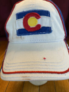 Vtg State of Colorado w Flag Patch Merchandise Baseball Cap White Dad Truck Hat $19.96