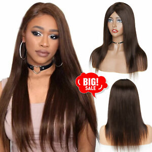 Best Peruvian Brown Straight Human Hair Wigs Top Machine Made None Lace Full Wig