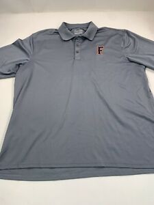 Under Armour Polo Shirt Men XL Gray Heat Gear Loose Fit Short SleeveEmbroidered $19.88