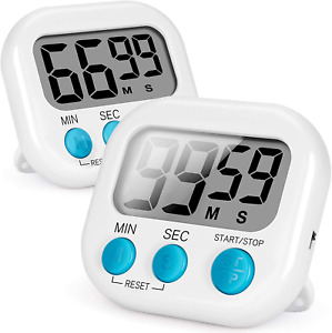 Magnetic Digital Kitchen Timer Loud Alarm Clock 2 Pack White LCD Countdown Timer $11.99