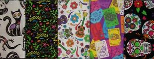 LOT 5 FAT QUARTERS DAY OF THE DEAD Crafts Quilting Sewing Cotton FREE SHIP $13.56