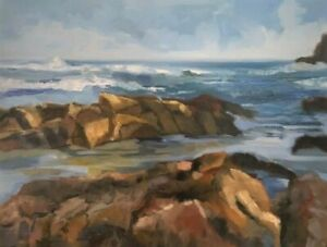 Impressionist seascape oil painting rocks ocean waves by Michele Cole $145.00