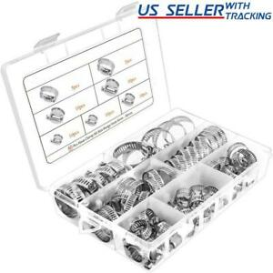 60pcs Adjustable Hose Clamps Worm Gear Stainless Steel Clamp Assortment 7 Sizes $14.99