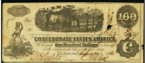Confederate States of America $100 Note August 231862 T40 with ink endorsement