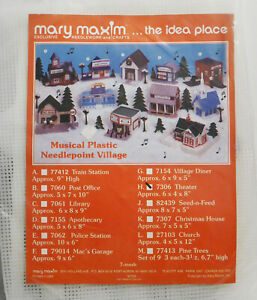 THEATER #7306 Mary Maxim Christmas Plastic Canvas Musical Village Kit NEW $16.95