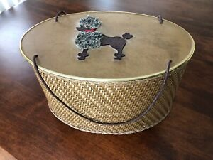 Vintage poodle sewing basket with lots of vintage replacement beads and buttons $28.00
