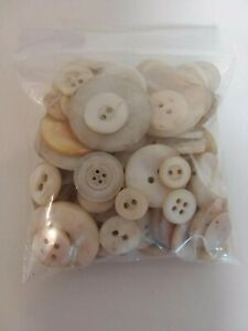 Old Sewing Buttons Shades of White More than 100 Decorator Unsorted Estate Find $17.95