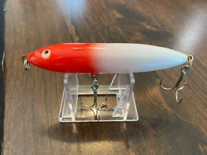 Vintage fishing lure Heddon Zara spook nose pull topwater red and white