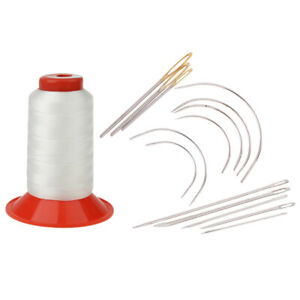 15Pcs Set Curved Sewing Needles Repair Upholstery Carpet Leather Thread Spool $11.13