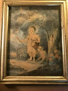 Rare Original Very Old Antique Painting Girl With Drum Dog Sheep $324.99