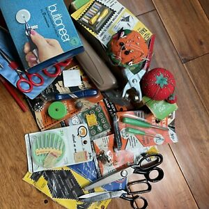 Assortment of Vintage Sewing Notions Scissors Screw Drivers Needles Pin Cushion $24.95