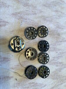 Vintage Sewing Machine Bobbins Metal 1quot; Lot of 7 with bobbin cover $14.00