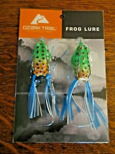 PACKAGE OF 2 OZARK TOPWATER BASS FISHING FROG LURES 4quot; LONG