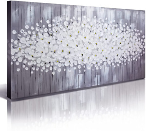 Gray White Flowers Large Paintings for Living Room Wall Art 3D Print Oil Picture $117.73