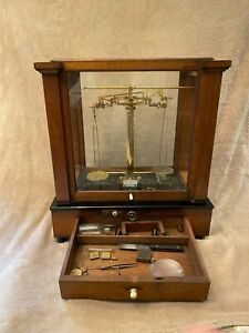 Antique Apothecary Scale in glass case by Eimer amp; Amend of New York $215.00