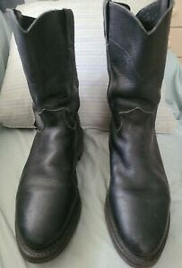 JUSTIN Preowned Black Leather Work 10#x27;#x27; Boot Mens Size 11 D Style 4763