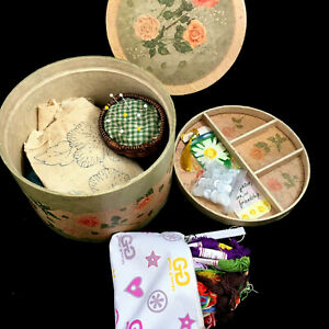 Vintage Rose Sewing Box with Contents $16.30