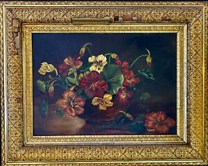 Antique oil painting Still Life #x27;Pansy#x27; Original Gilded picture frame AS IS. $135.00