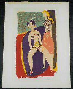 Original Lithograph of Two Women by Swedish Artist Ulf Gripenholm Listed $400.00