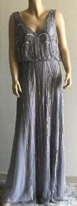 Adrianna Papell Beaded Mesh Blouson Gown Size 16 F#02 $49.00