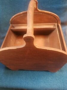 Antique Wooden Sewing Basket missing roll top lid $18.90