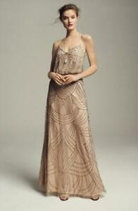 Adrianna Papell Beaded Chiffon Blouson Gown Size 10 F#40A $59.00