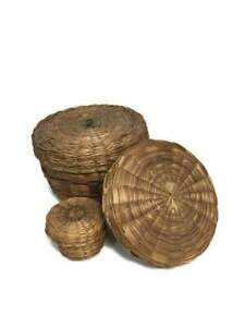 Vintage Sweetgrass Baskets Set of 3 Sewing Baskets with Pincushion and Thimble $151.00