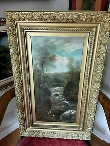 antique landscape painting water fall painting antique heavy frame C $135.00