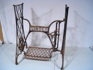 Antique Singer Treadle Sewing Machine Cast Iron Base Stand Table Shabby Chic $179.95