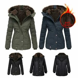 ❤️ Women#x27;s Quilted Winter Warm Coat Ladies Puffer Fur Collar Hooded Jacket Parka $69.99