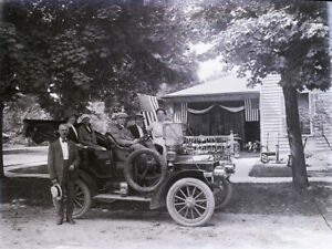 1900#x27;s Antique Glass Plate Negative 6x8quot; 4th of July Flags People in Antique Car $55.00