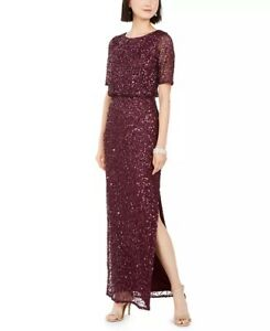 Adrianna Papell Womens Beaded Gown Dark Purple Size 12 $42.00