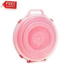Set of 3 Plastic Circular Storage Container 24in Wreath Decor Red Base Clear Li. $49.99