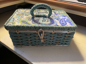 Vintage Dritz Sewing Basket Small Woven Box Blue Turquoise Japan 9013 Scovill $19.99