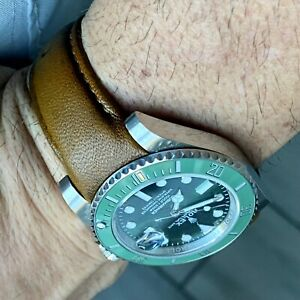 20mm Woody BROWN Calfskin leather curved fitted Band Strap Rolex Sub Case $69.99