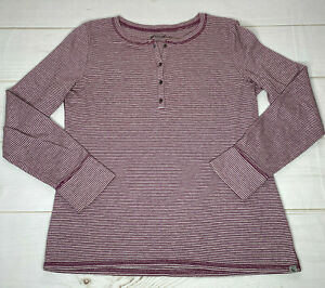 Eddie Bauer Womens Shirt Large Outdoor Red Stripe Pullover 4 Button Long Sleeve $13.00
