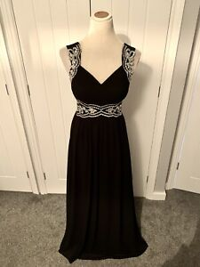 QUIZ BLACK SEQUIN EMBELLISHED LONG MAXI EVENING OCCASION BALL DRESS GOWN Sz 12 GBP 33.99