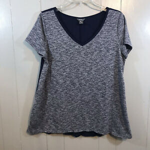 Eddie Bauer Petite Navy Blue Short Sleeve V Neck Semi Fitted T Shirt Top PL $18.99