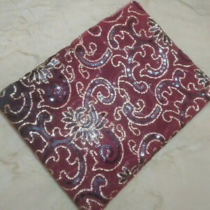 Indian Stunning Dupatta Scarf Long Sequins Hand Embroidery Georgette Veil Stole $11.49