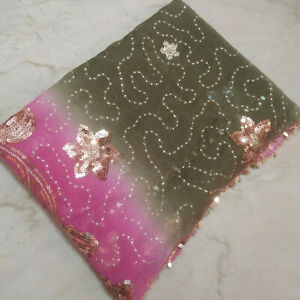 Indian Stunning Dupatta Scarf Long Sequins Hand Embroidery Georgette Veil Stole $9.99