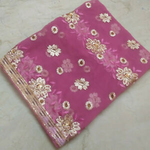 Indian Stunning Dupatta Scarf Long Sequins Hand Embroidery Georgette Veil Stole $12.49