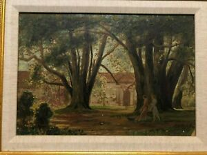 Rare Wonderful Antique Signed Painting Two Women Walking Together w Dog 30s $389.99