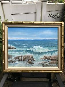 Seascape painting on canvas framed $50.00