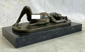 Naked Male Erotic Bronze Sculpture Gay Interest Solid Marble Base Figurine Art $299.00
