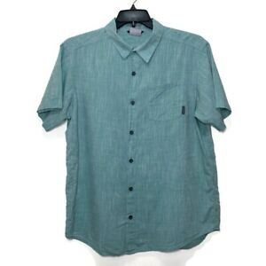 Columbia Shirt Button Down Fishing Green Solid Short Sleeve Mens Large