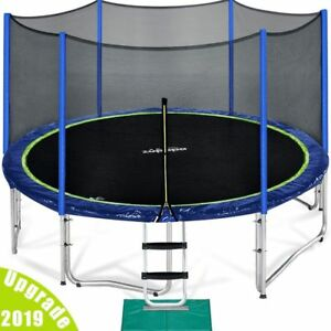 Zupapa 14FT BOUNCE Round Heavy Duty Trampoline Safety Enclosure NET Mat Ladder