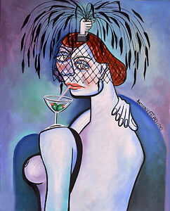 MARTINI AND A BLACK FEATHERED HAT ORIGINAL PAINTING WOMAN CUBISM ANTHONY FALBO